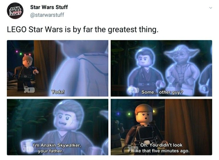 Haha Yes I Loved Playing Lego Star Wars When I Was Little This Brings Back So Many Memories Star Wars Humor Star Wars Jokes Star Wars Memes