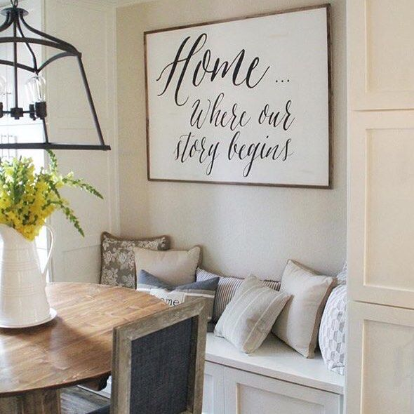 Large Wooden Signs Home Decor: Home....Where Our Story Begins.... Sign!