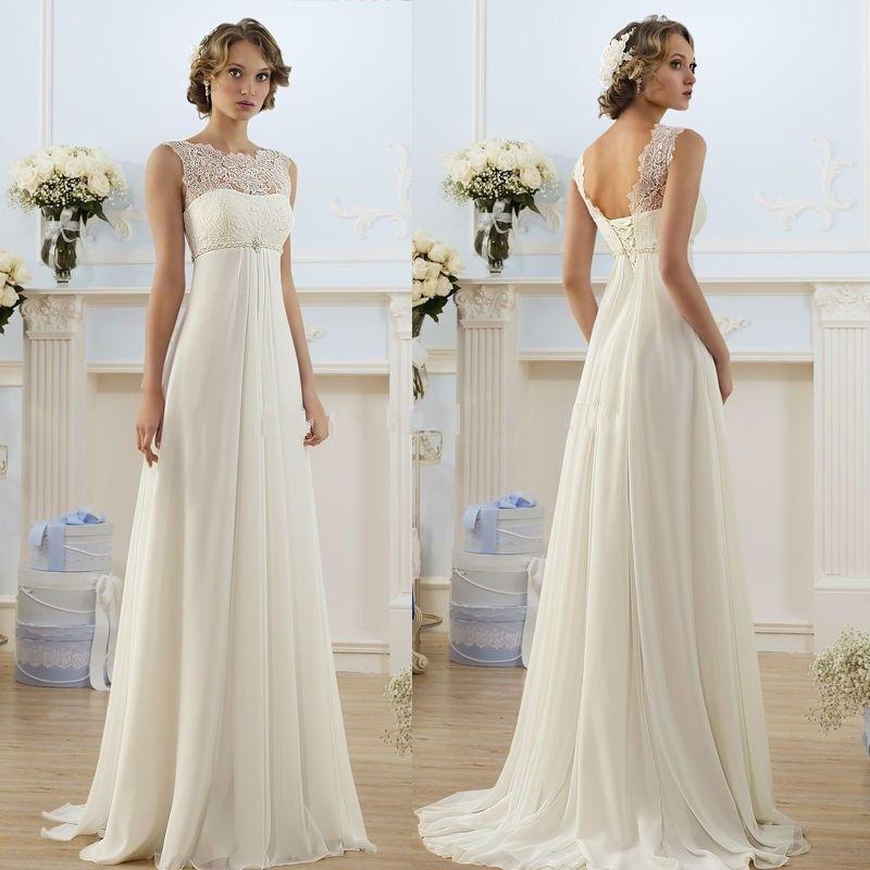 Neu Lager chiffon Spitze Hochzeitskleid Brautkleider Gr.42 ...