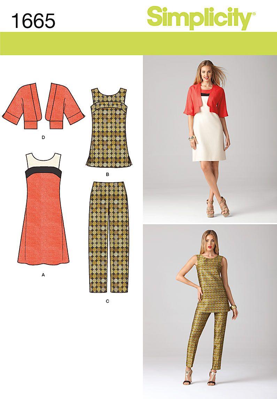 Patron de robe et manteau -Simplicity-7851 | Nähen
