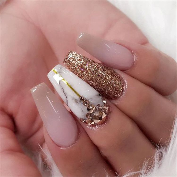 35 2019 Hot Fashion Coffin Nail Trend Ideas Marble Acrylic Nails Coffin Nails Designs Gold Nails