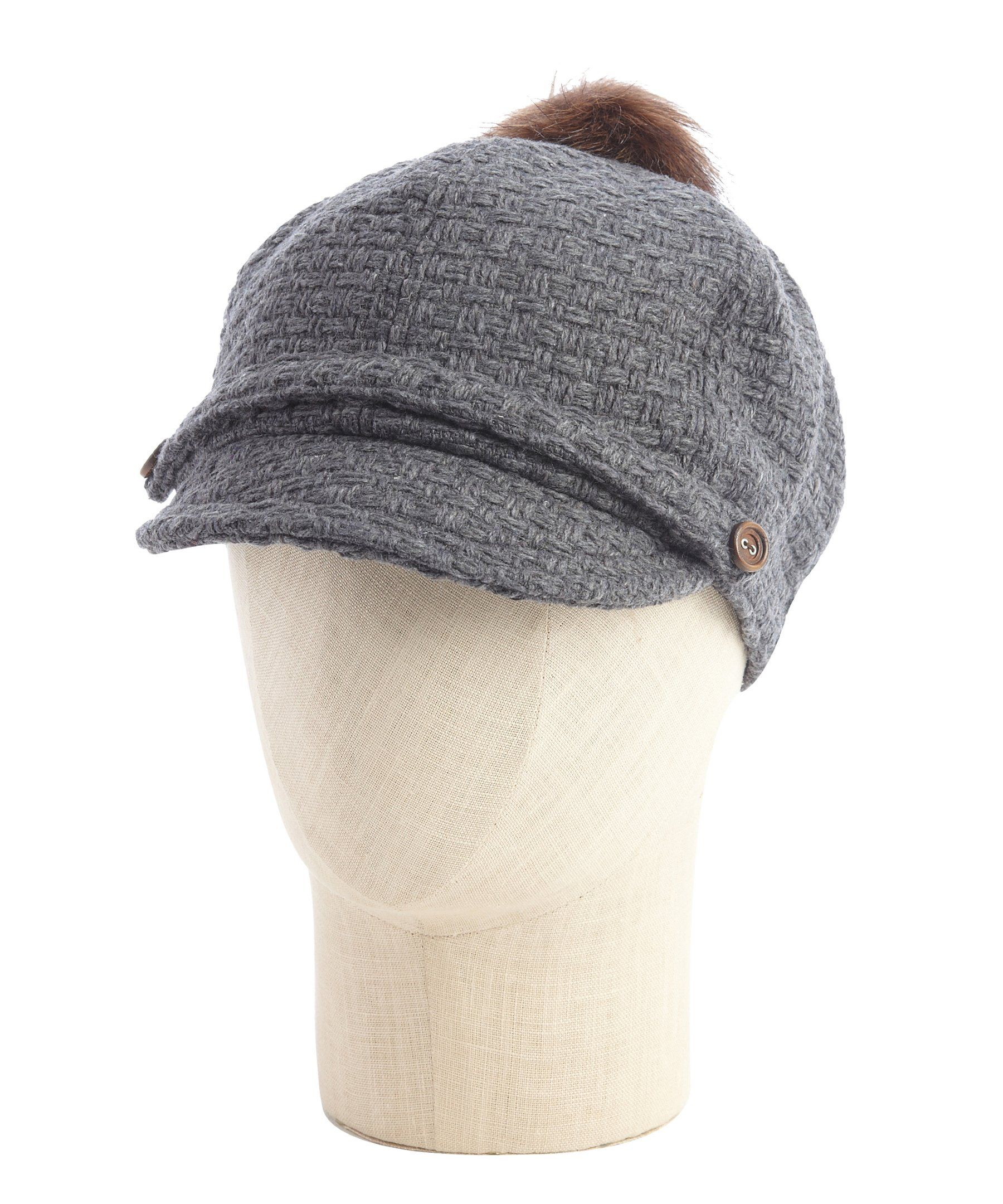 Designer Pom Pom Hats - Parchment N Lead 05b59e62f1d5