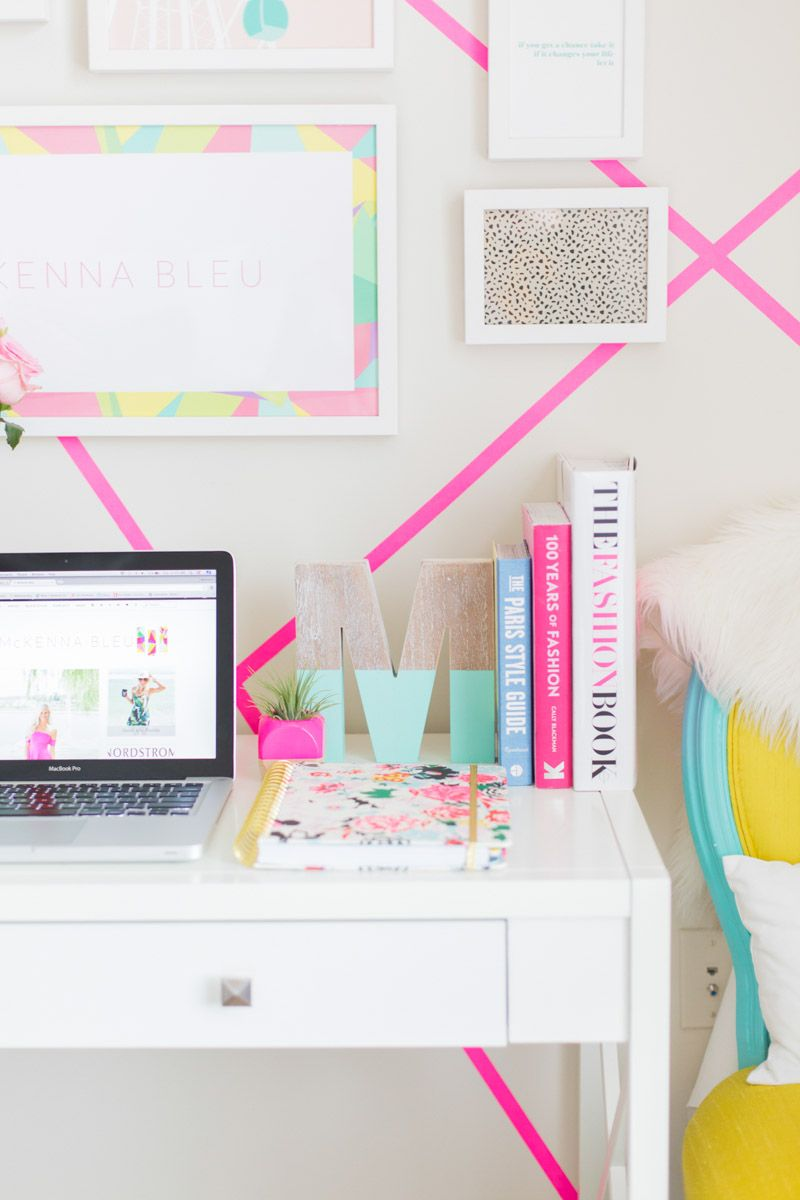 Creative workspace  home office with pops of pink  Room