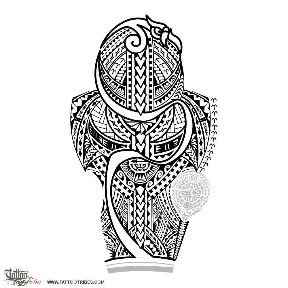 Puipuia. Guardian.  This full sleeve tattoo inspired by Samoan style was designed for Philip to integrate two existing tattoos. In addition to Samoan motifs, the manaia on top (guardian spirit, protecting it and developing in a stylized way all down the tattoo) was used to give more power to the design, enhancing at the same time the lines of the muscles. The shoulder has bigger elements and the forearm smaller to[...]  http://www.tattootribes.com/index.php?newlang=English&idinfo=7003