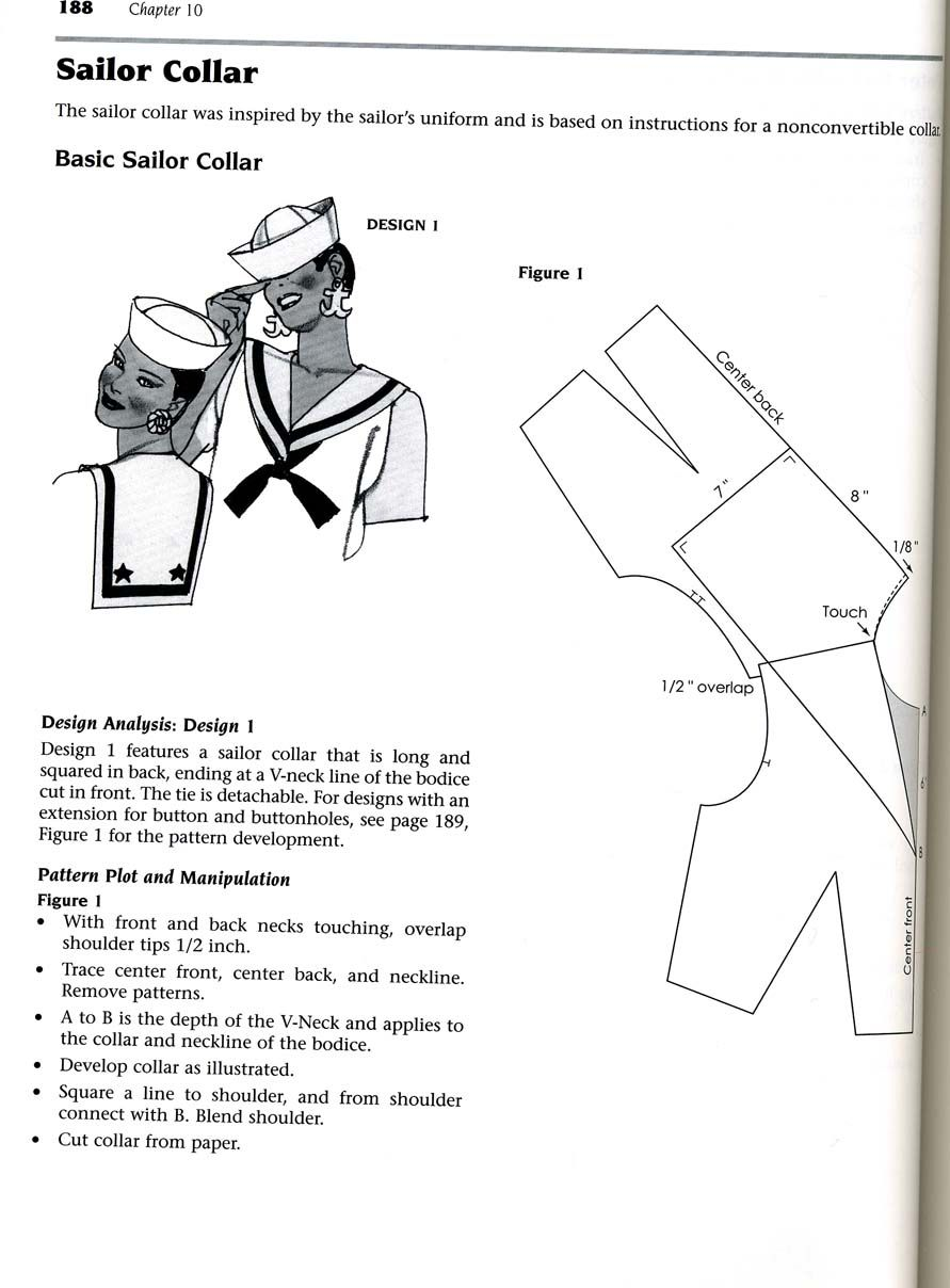Sailor collar pattern design instructions | Sewing | Pinterest ...