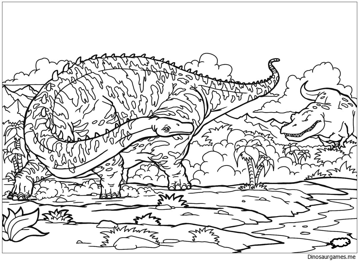 Diplodocus And T Rex Coloring Page Print Out It Or Color