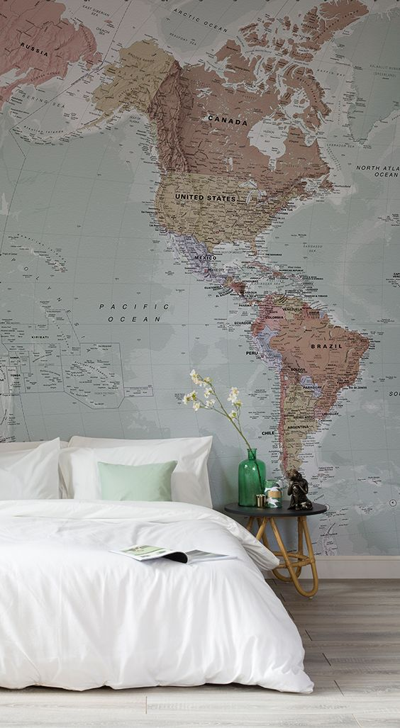 Classic world map wallpaper stylish map mural muralswallpaper this wonderful map wallpaper encompasses beautiful muted tones making gumiabroncs Gallery