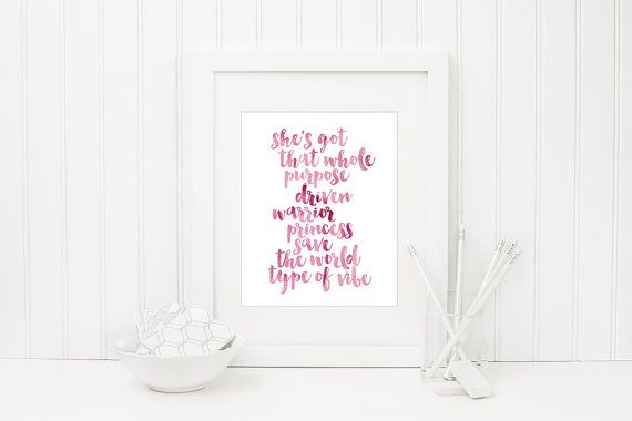 Warrior Princess Quote//Watercolor Print//Real Foil Print by fifteenandseven
