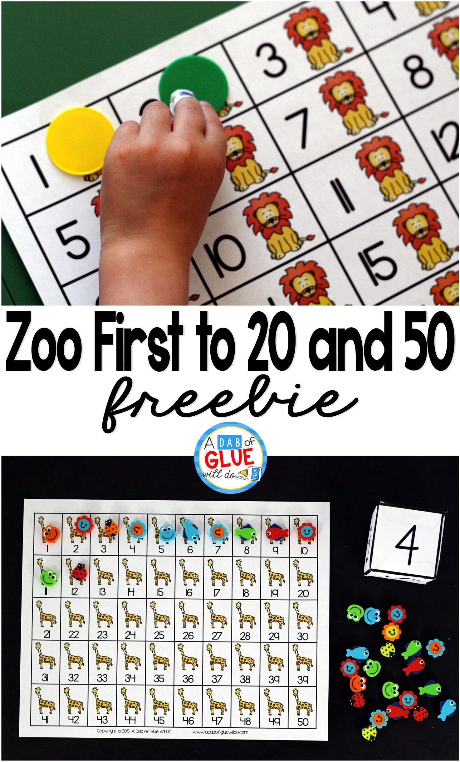 Zoo First To 20 And First To 50 Math Game