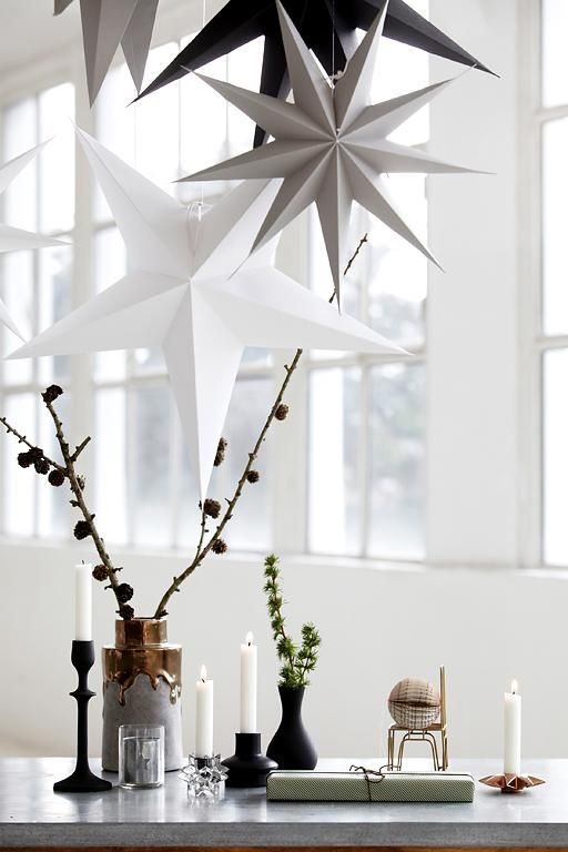 Papiersterne Weihnachtsbeleuchtung.Winterdeko Stilvoll Und Zurückhaltend The Home Winterdeko