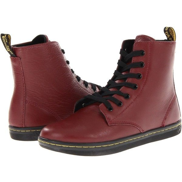 Dr. Martens Leyton 7-Eye Boot (Cherry Red) Women's Lace-up Boots ($80) ❤ liked on Polyvore featuring shoes, boots, mid-calf boots, slip resistant boots, laced up boots, laced up shoes, mid-calf lace up boots and lace up boots