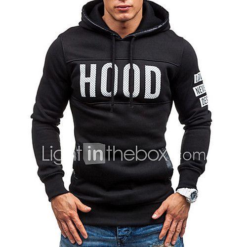 M/&S/&W Mens Letter Print Tops Fashion Long Sleeve Hoodie Sweatshirt Coat Outwear