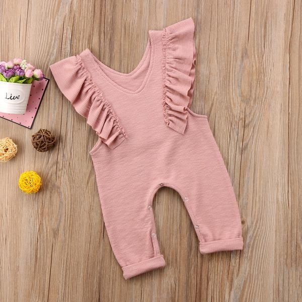 Photo of Summer Kids Baby Girl Cotton Knitted Pleated Ruffles Sleeveless Romper Princess Sunsuit Overalls Jumpsuit Long Trousers Clothes