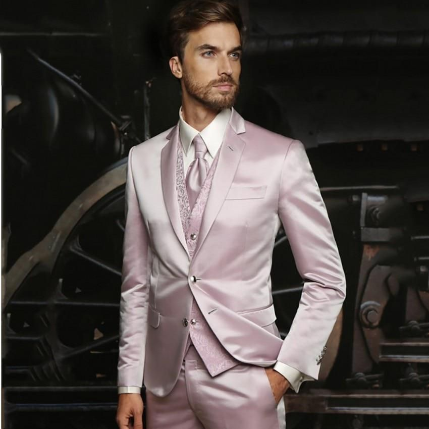 2019 Latest Coat Pant Designs Hot Pink Suit Men Satin Wedding Suits