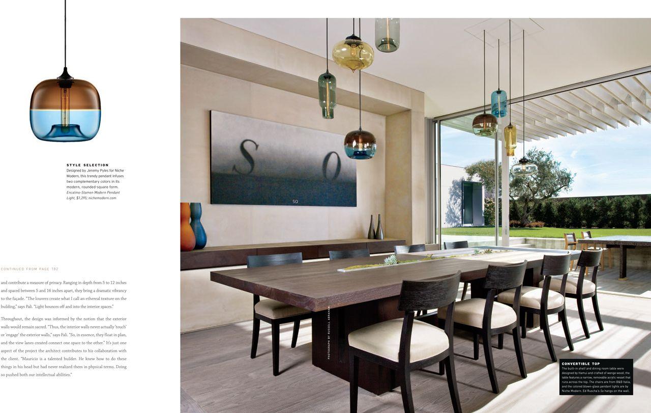 An Impressive Cluster Of Niche Modern Pendant Lights Inside Designer S Own Home Niche Modern Niche Modern Lighting Niche Modern Pendant