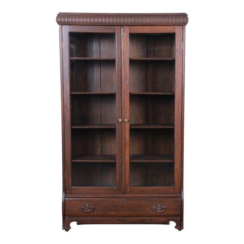 Antique Carved Oak Glass Front Locking Bookcase Bookcase Glass Front Cabinets Wood Detail
