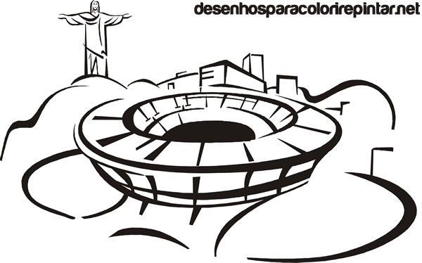 Desenho Para Colorir Da Copa 2014 No Brasil Estadio Maracana
