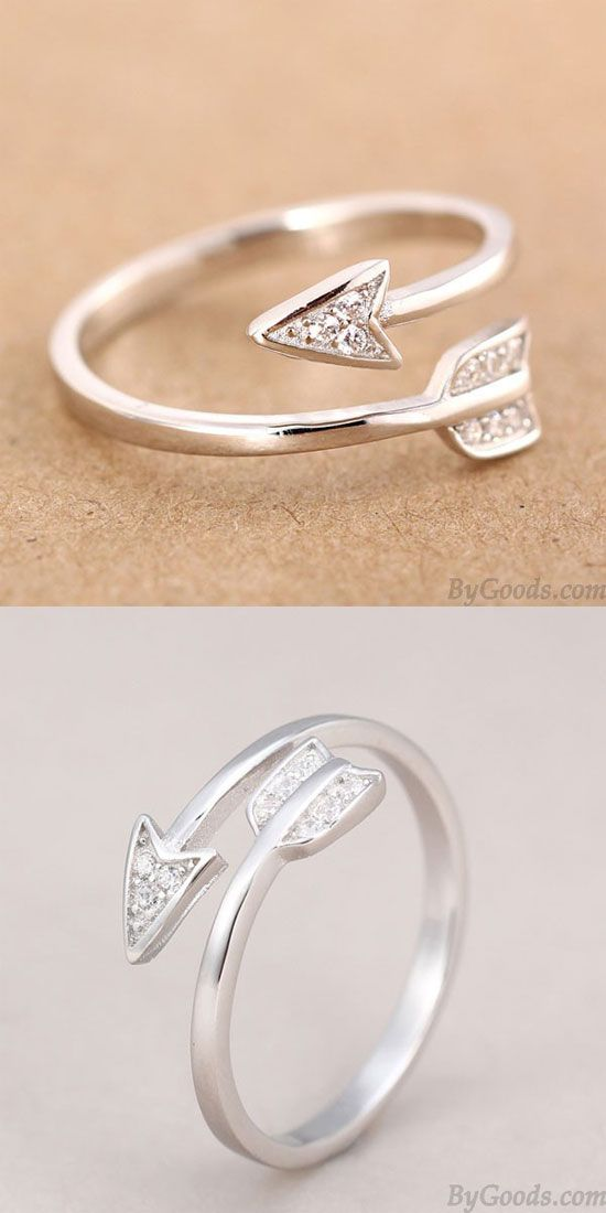 925 Sterling Silver Cupid Arrow Couple Opening Ring only $15.99 ...
