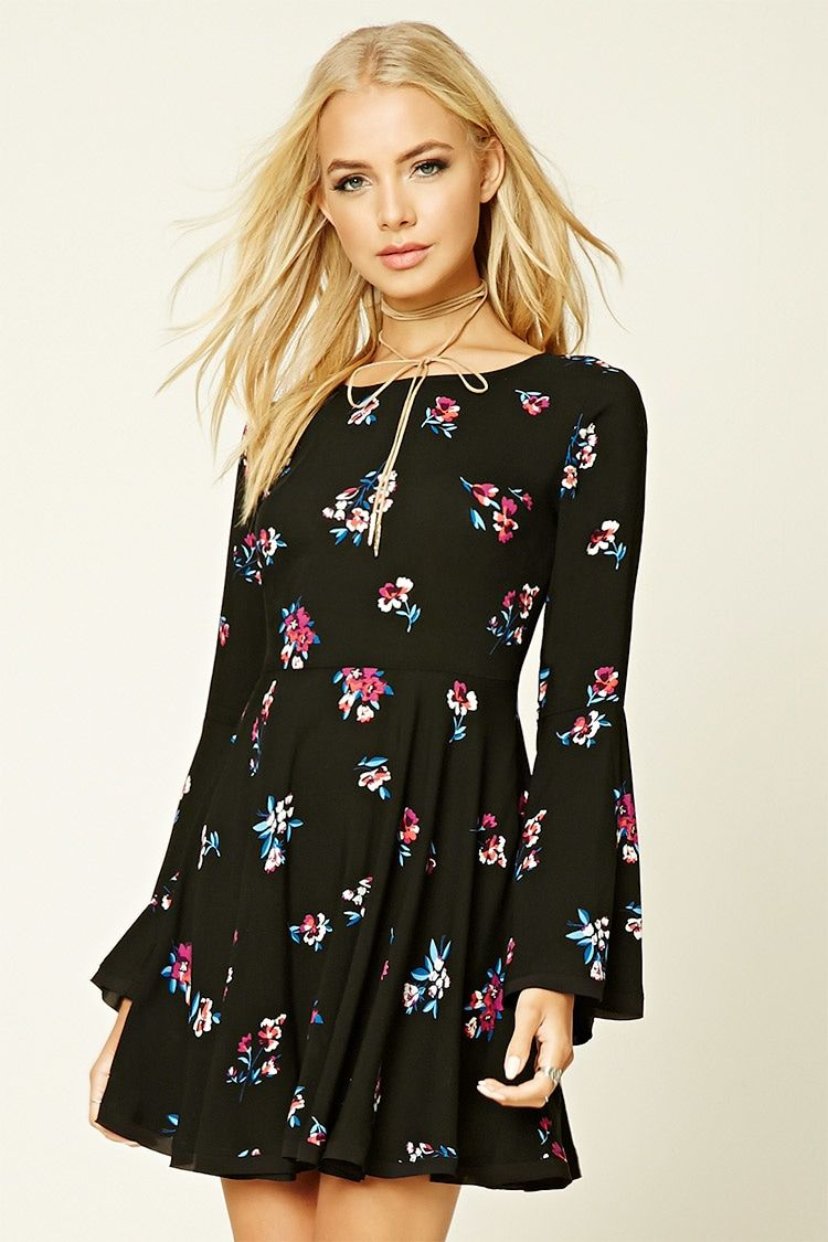 Floral print selftie dress willowus style pinterest flared
