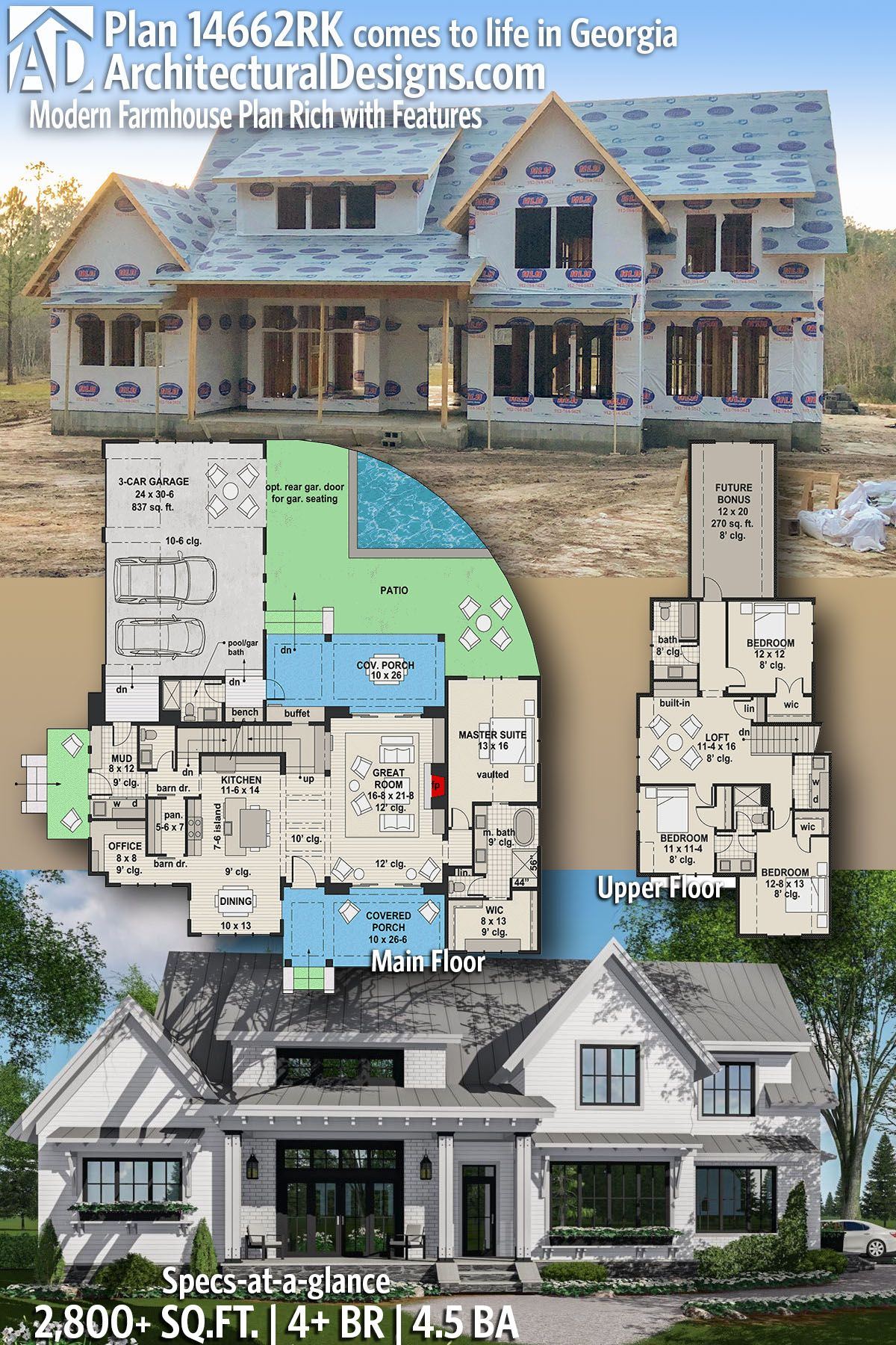Architectural designs modern farmhouse plan rk under construction in georgia bedrooms baths square feet ready when you are also house plans archdesigns on pinterest rh