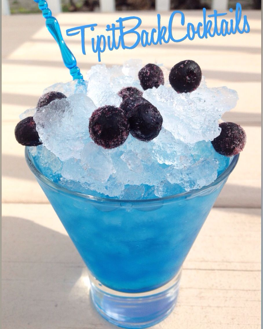 Berry Bomb... Build in glass with ice Splash of Blue Curaçao  1 1/2 oz Vodka Top with Mt Dew Kickstart Blueberry Pomegranate  Garnish with Frozen Blueberries