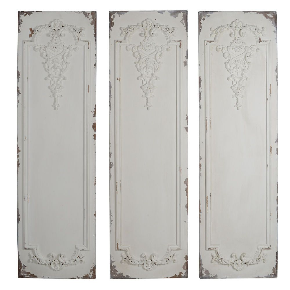 Chic Shabby Set of 3 Carved Wood Wall Panels Antique White Floral Wall Plaques #Unbranded #FrenchCountry