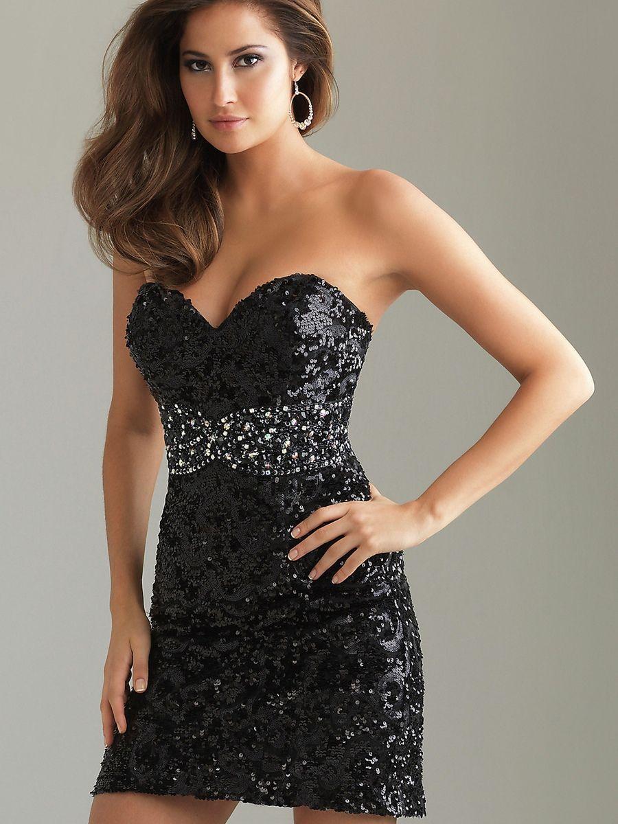 Short Strapless Black Cocktail Dress