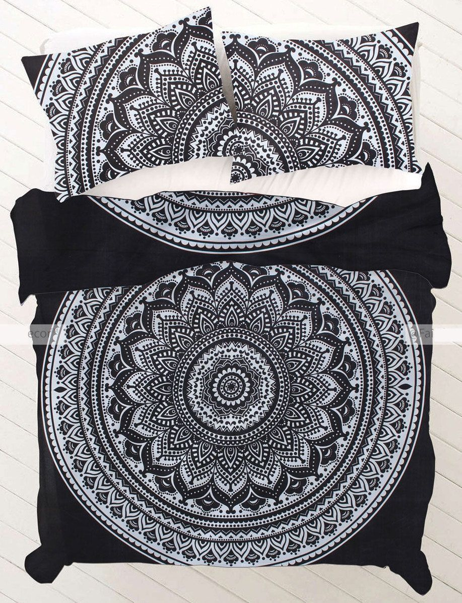 QUEEN 0119 Black and White Ombre Mandala Duvet cover by