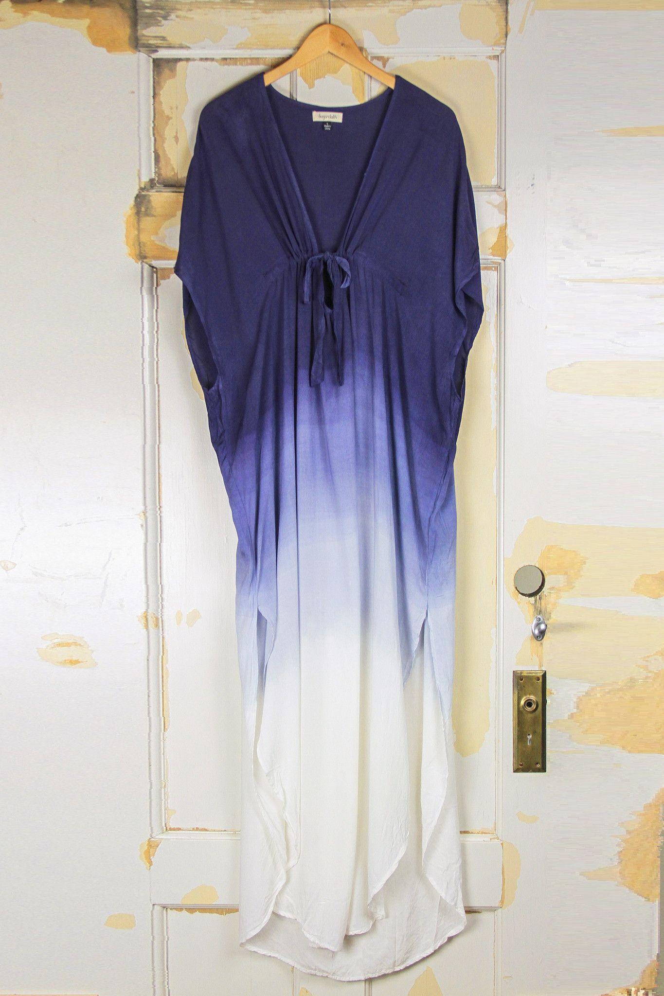Ombre Tie Front Maxi Kaftan Dress