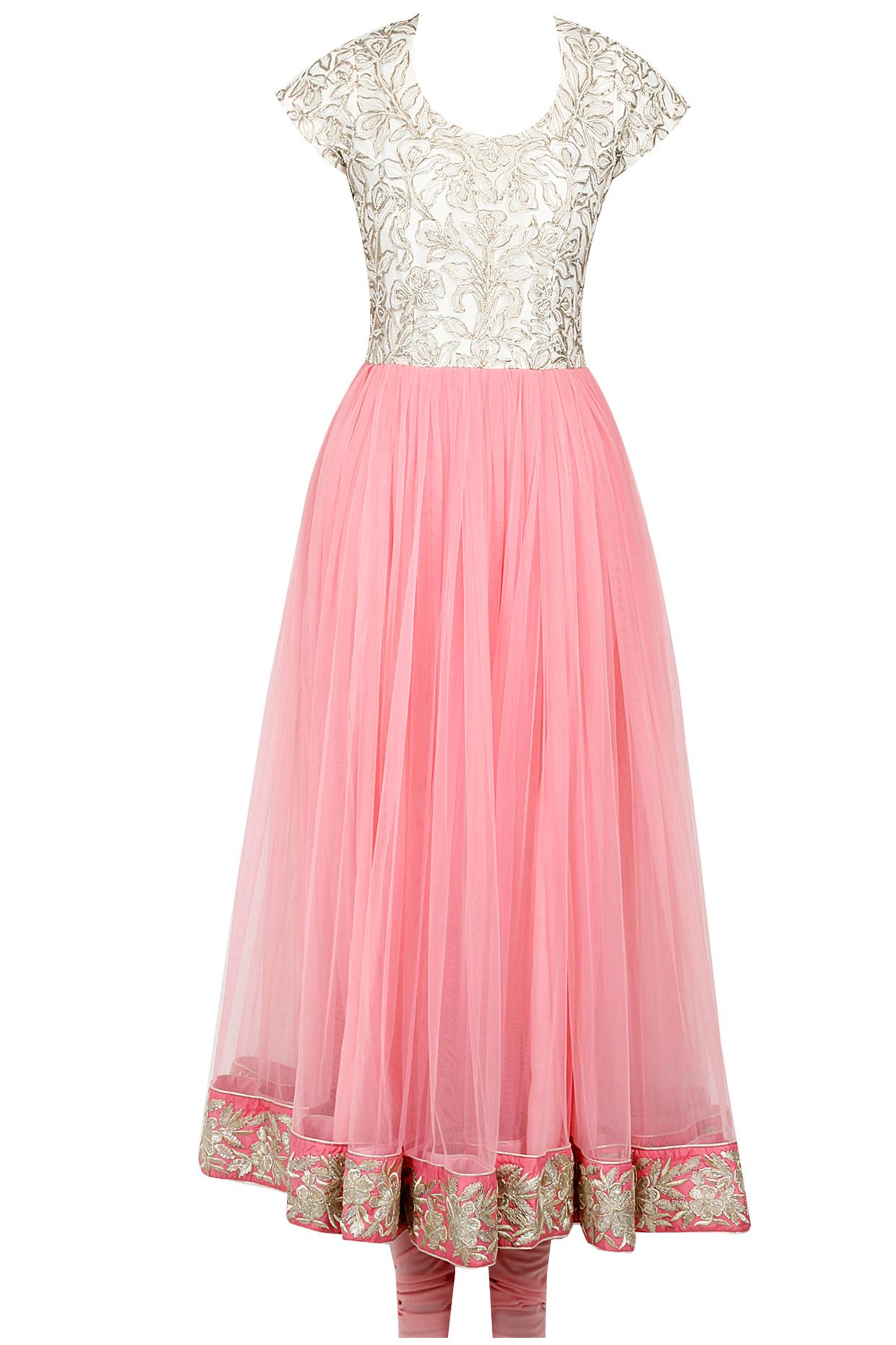 Baby pink charkhi gota embroidery anarkali set available only at ...