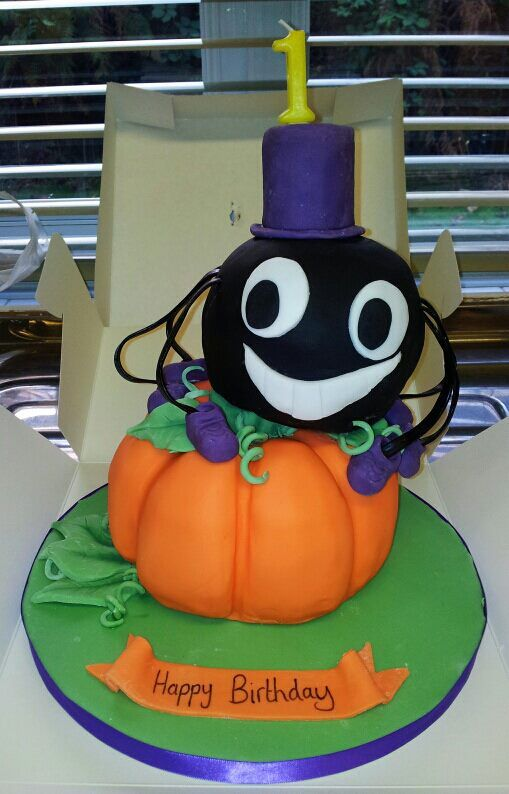 1st birthday and halloween cake!!! all edible and hand crafted