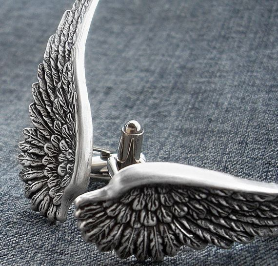 SOLDERED Wing Cuff Links Antique Silver Winged Cufflinks The Flight Series Cufflink Avenging Angel Cuff Wings Feathered Cuff Link