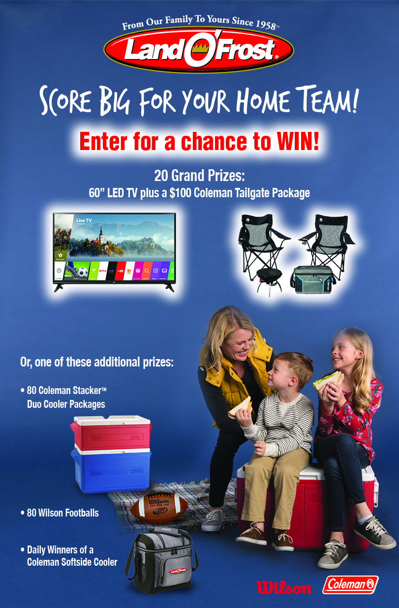"http://landofrostfootball.hscampaigns.com   Win a  60"" LG LED 4K UHD TV; and a Coleman All American Tailgater Package"
