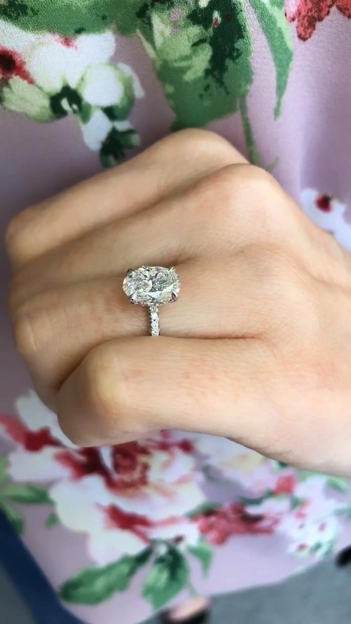 We love this gorgeous #ovalcutdiamond with a delicate hidden diamond halo✨🌸✨ - By Ascot Diamonds Atlanta.   #ascotdiamonds #labgrowndiamonds