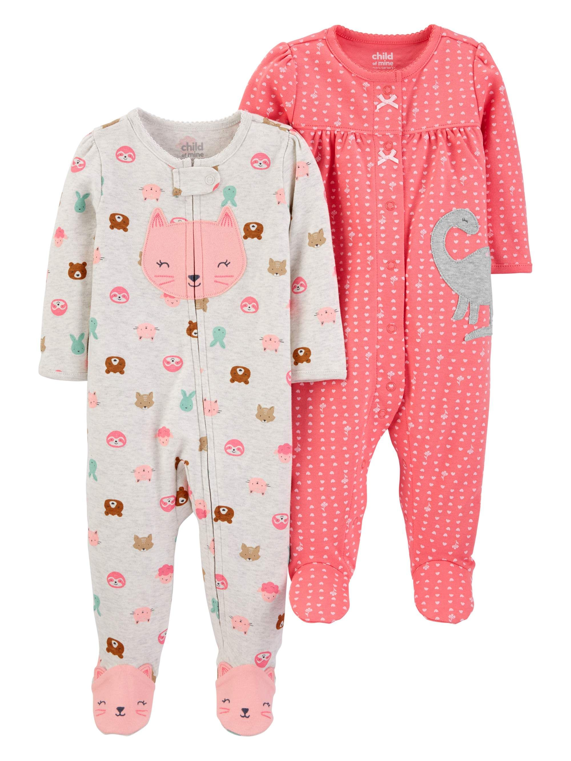 18 Months Floral Heart Carters Baby Girls Graphic Footie