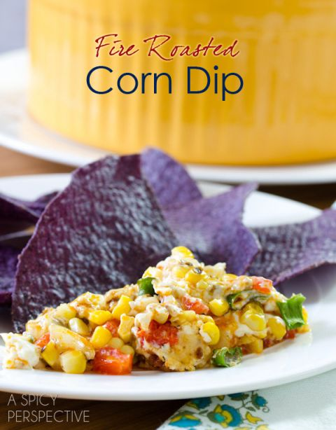 Cheesy Fire Roasted Corn Dip   ASpicyPerspective.com #dip #party