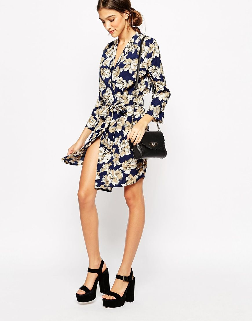 Ganni Wrap Dress In Faded Flowers Print I Want It Now