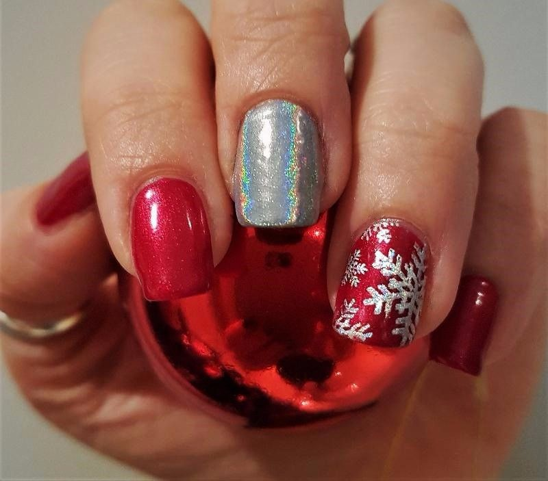 Christmas nails using Shellac Red Baroness and Silver Chrome with ...