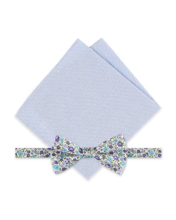 Rooster Ditsy Floral Bow Tie & Solid Pocket Square Set | cotton