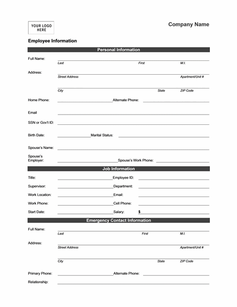Employee Information Form  Templates  Mbo    Template
