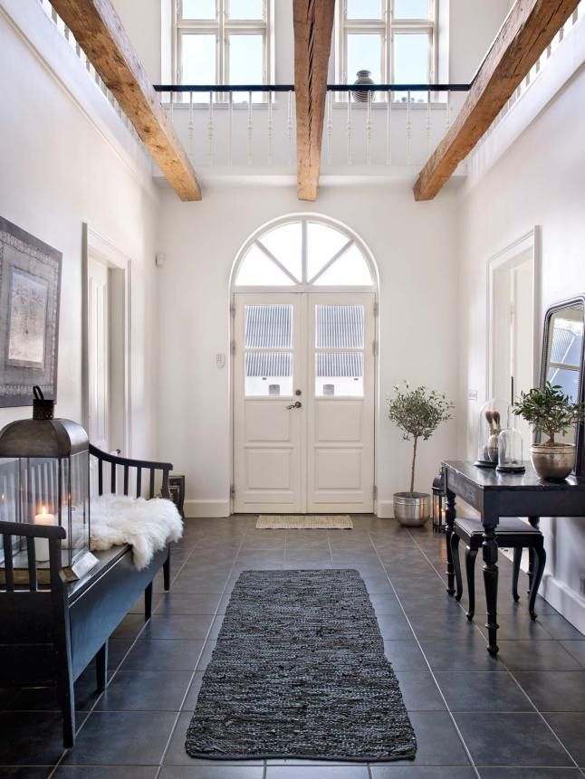 Foyer: Danish Farmhouse In Black And White. Entry Foyer, Entrance Hall ...
