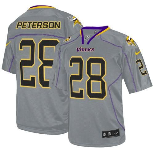 9a932d96a16 Nike Vikings  28 Adrian Peterson Lights Out Grey Men s Stitched NFL Elite  Jersey