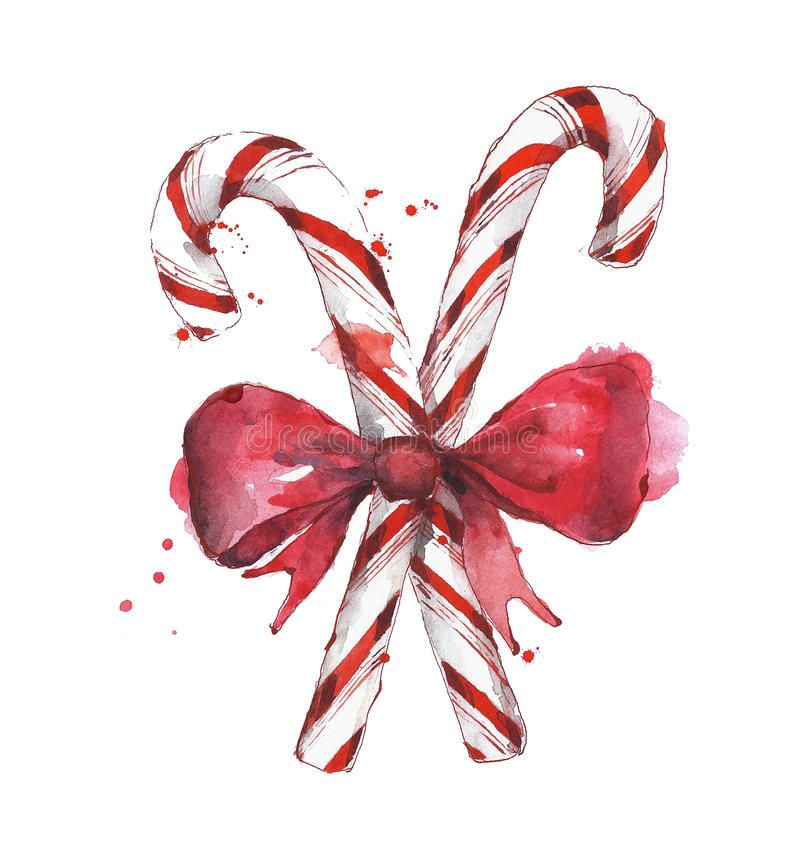 Candy Cane With Bow Tie Watercolor Painting Isolat