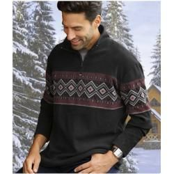 Photo of Fleece-Sweatshirt mit Jacquard-Muster Atlas For MenAtlas For Men