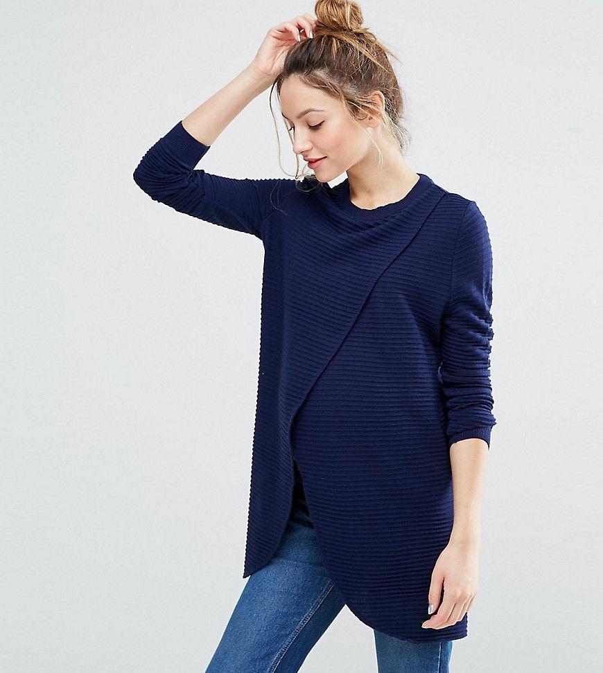 37f211491b753 ASOS Maternity NURSING Wrap Over Sweater In Textured Stripe - Navy ...