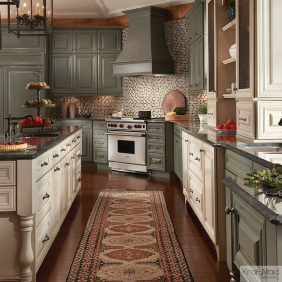 Beau Painted Cabinets In Neutral Colors U2013 Sage With Cocoa Glaze .