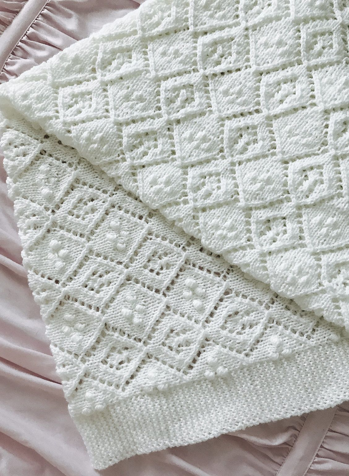 Free knitting pattern for thine receiving blanket beautiful baby free knitting pattern for thine receiving blanket beautiful baby blanket with diamond lace and bobbles bankloansurffo Image collections