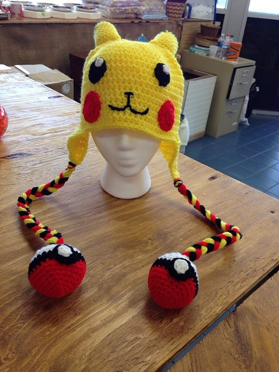 Pokemon Pikachu Crochet Hat with Hanging by CreativeTreasures223 More