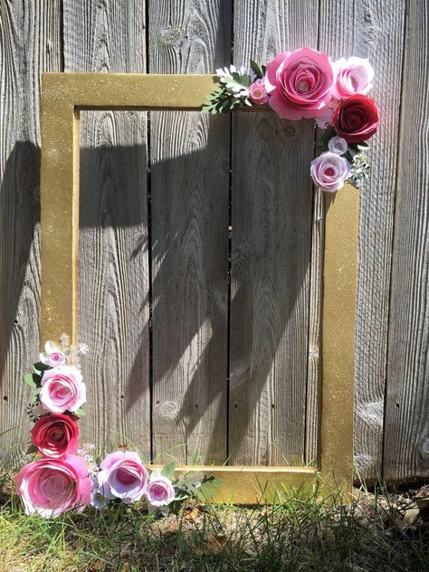 Gold Floral Frame Photo Booth Prop 3d Flower Bouquet Style Wedding