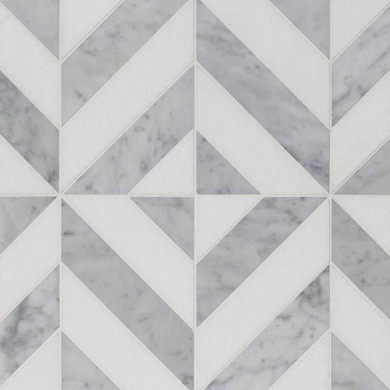 Thassos White White Carrara Multi Finish Marina Chevron Marble Mosaics 8x8 1 16 Country Floors Of America Llc Marble Mosaic Marble Mosaic Floor Marble Floor Pattern